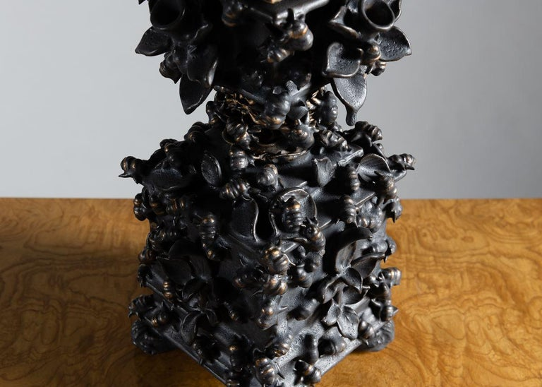 Contemporary Matthew Soloman, Black Tulipiere with Bees Sculpture, United States, 2019 For Sale
