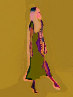 Mixed Media Vibrant Female Abstract Dancer