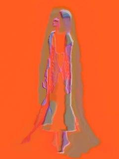the Dance - Large Florescent Orange Female Portrait of a Dancer