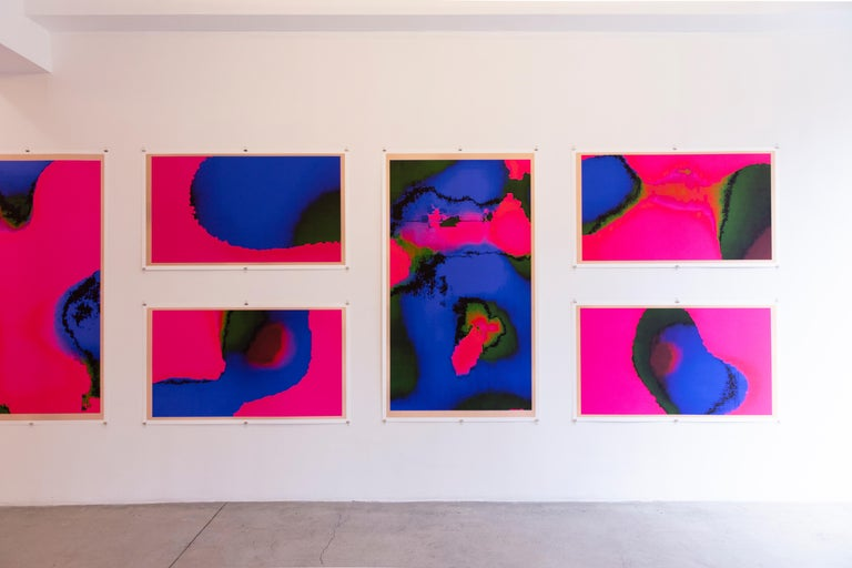 Babylon - Abstract Pink and Blue Pure Pigment Print For Sale 2