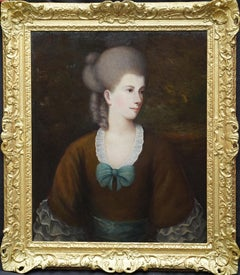 Portrait of a Lady with a Blue Bow - British 18thC art Old Master oil painting
