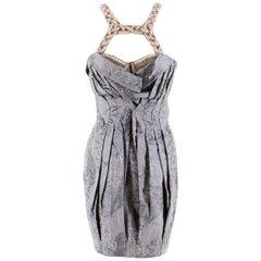 Matthew Williamson Blue-Grey Embellished Cloque Runway Dress - Size US 2