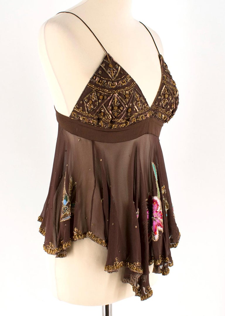 Matthew Williamson Brown Beaded Sheer Top   -Brown, silk -Spaghetti strapped -V-neckline -Beaded bust and trim -Bird, flower, and butterfly embroidery -Sheer body of top -Concealed back zip and button closure  Please note, these items are pre-owned