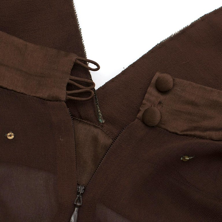 Women's Matthew Williamson Brown Beaded Sheer Top estimated size XS For Sale
