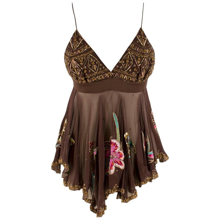 Matthew Williamson Brown Beaded Sheer Top estimated size XS For Sale
