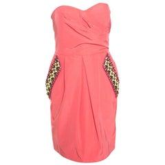 Matthew Williamson Coral Pink Embellished Pocket Detail Strapless Valencia Dress
