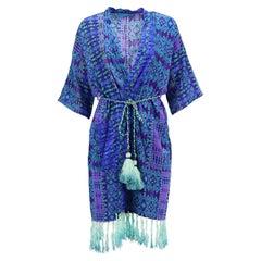 Matthew Williamson Escape Belted Printed Silk Robe UK 8