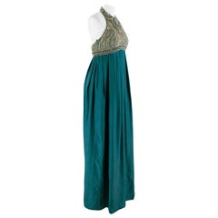 Matthew Williamson Halterneck Blue Silk Embellished Maxi Dress 8 UK