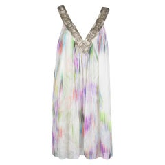 Matthew Williamson Multicolor Printed Embellished V-Neck Dress M