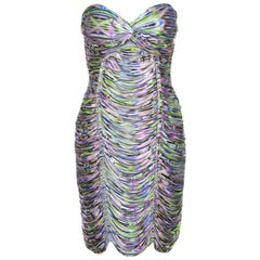 Matthew Williamson Multicolor Printed Jersey Ruched Twist Front Strapless Dress