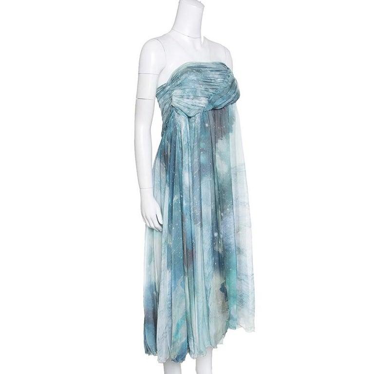 Blue Matthew Williamson Printed Silk Draped Strapless Dress S For Sale
