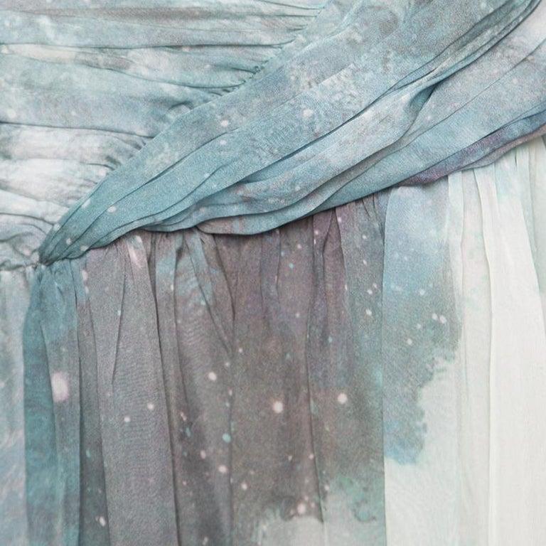 Matthew Williamson Printed Silk Draped Strapless Dress S In Good Condition For Sale In Dubai, AE
