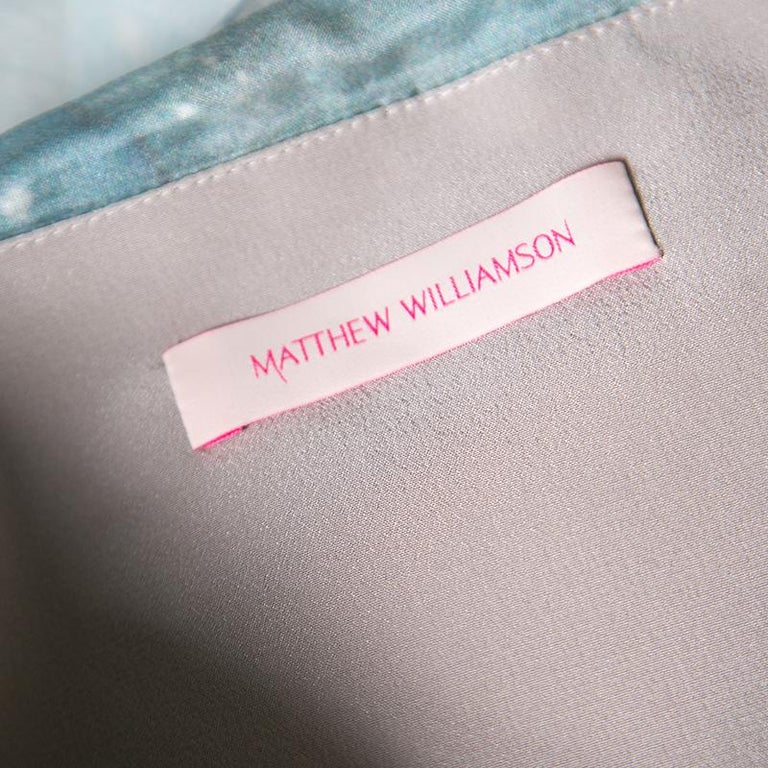 Women's Matthew Williamson Printed Silk Draped Strapless Dress S For Sale