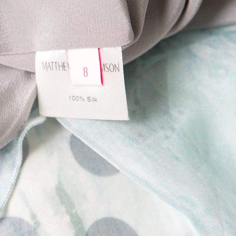 Matthew Williamson Printed Silk Draped Strapless Dress S For Sale 1