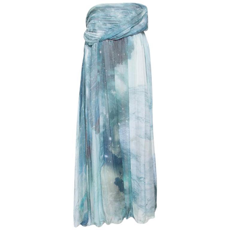 Matthew Williamson Printed Silk Draped Strapless Dress S For Sale