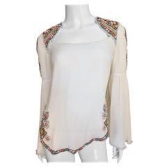 Matthew Williamson Silk Beaded Blouse with Cut Out Back