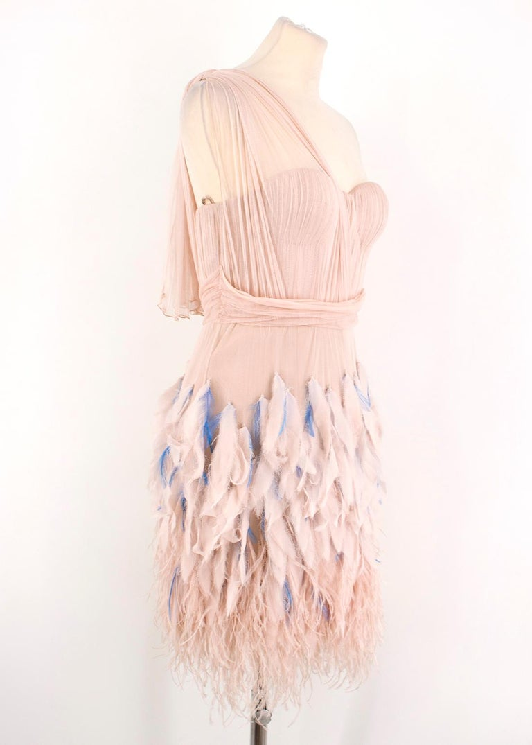 Matthew Williamson Silk & Feather Tulle Dress  - Boned at the bodice - Feather embellished from the waist down - Tulle-style - Draped one shoulder - Mini-length  - Sweetheart neckline - Concealed side zipper with hook and eye fastening  Please note,