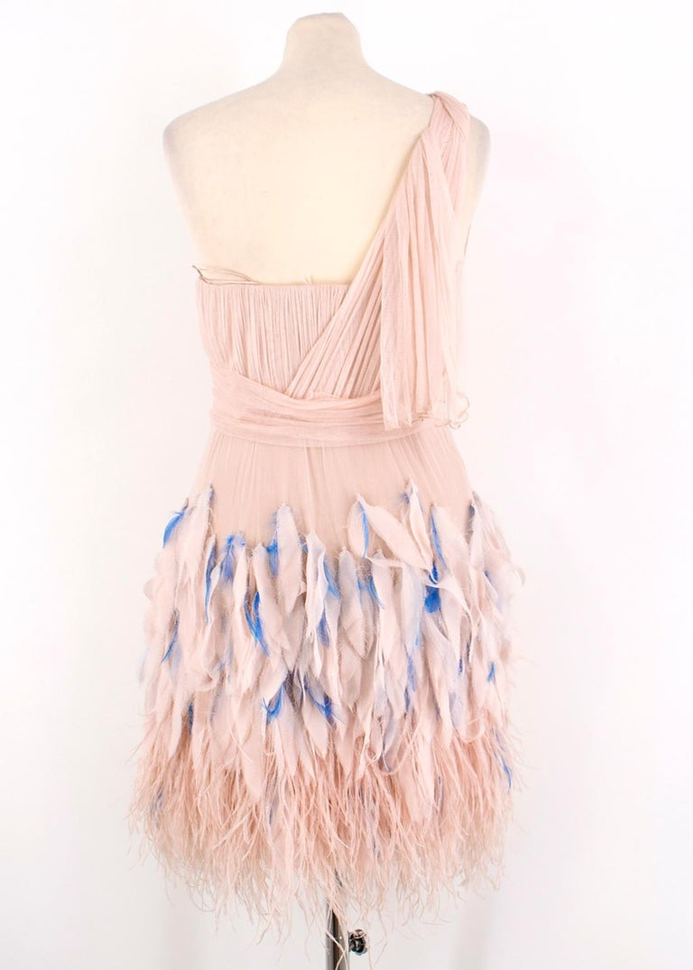 White Matthew Williamson Silk & Feather Tulle Dress US 6 For Sale