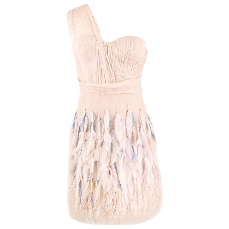 Matthew Williamson Silk & Feather Tulle Dress US 6 For Sale