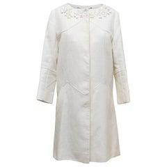Matthew Williamson White Cotton Linen Summer Coat - Size US 2-4