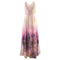 Matthew Williamson Yellow & Pink Tie Dye Silk Chiffon Maxi Dress - Size US 4