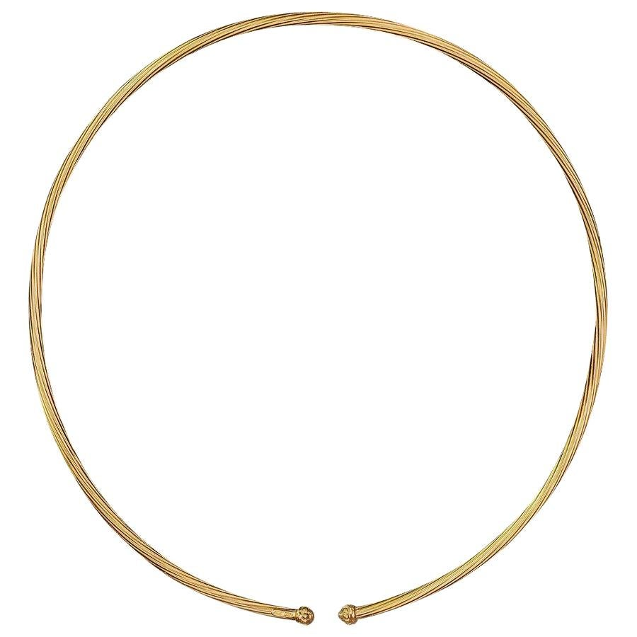 "Matthia's and Claire Flexi 18 Karat Yellow Gold Cuff ""Twist"" Necklace"
