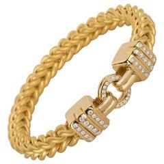 "Matthia's & Claire 18 Karat Gold ""Etruscan"" Braided Woven Diamond Bracelet"