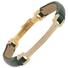 "Matthia's & Claire 18 Karat Gold Pave Diamond Green Alligator ""Skin"" Bracelet"