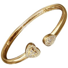 Matthia's & Claire 18 Karat Rose Gold and Diamonds Heart Cuff Bracelet