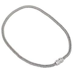"""Matthia's & Claire 18 Karat White Gold """"Etruscan"""" Braided Woven Diamond Necklace"""