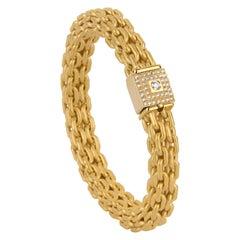 """Matthia's & Claire 18 Karat Yellow Gold """"Etruscan"""" Braided Diamond Bracelet"""