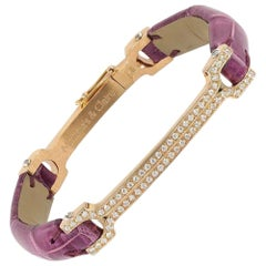 "Matthia's & Claire 18k Rose Gold Diamond Cluster Plum Alligator ""Skin"" Bracelet"