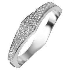 Matthia's & Claire 18k White Gold All Pave -¼ Pointed Wave Cuff