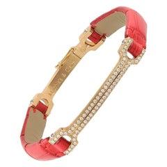 "Matthia's & Claire 18 Karat Gold, Diamond, and Red Alligator ""Skin"" Bracelet"
