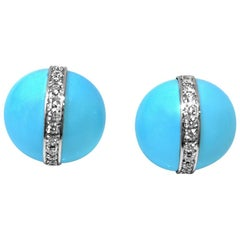 Matthia's & Claire Etrusca Collection Turquoise and Diamond Lever Back Earrings