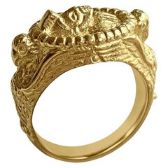 Matthia's & Claire Etrusca Soldier and Falcon 18 Karat Yellow Gold Signet Ring