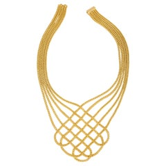 Matthia's & Claire Etruscan 18 Karat Yellow Gold Collier Braided Woven Necklace