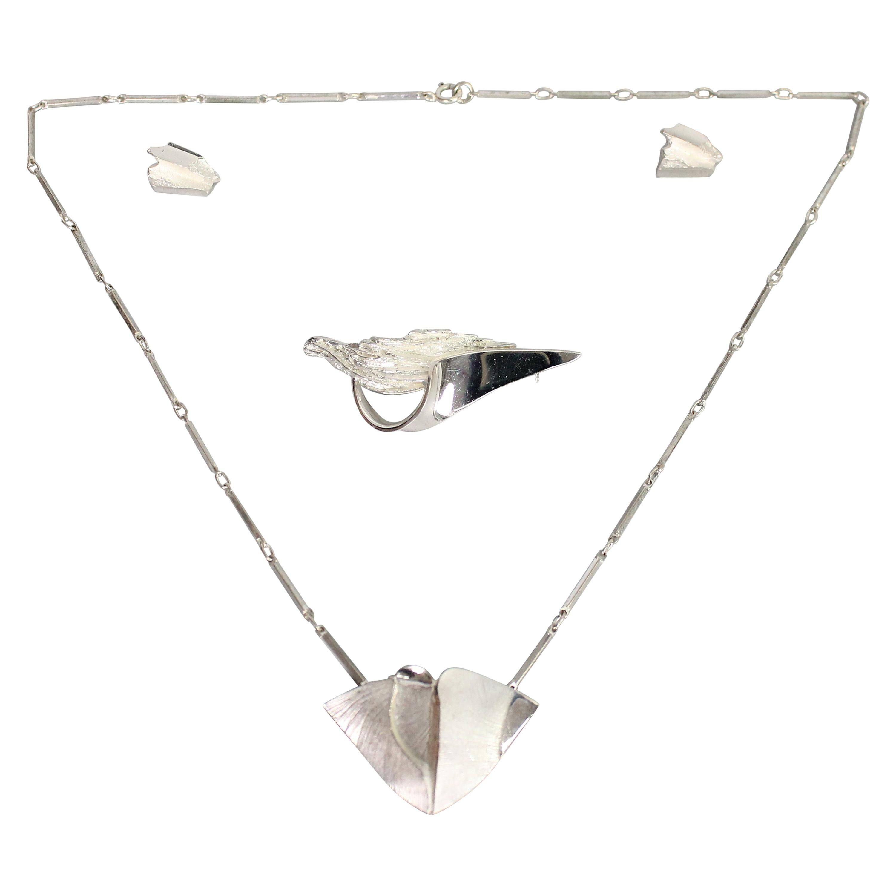 Matti J Hyvarinen a Set of Necklace, Earrings and a Brooch, Sterling, Finland