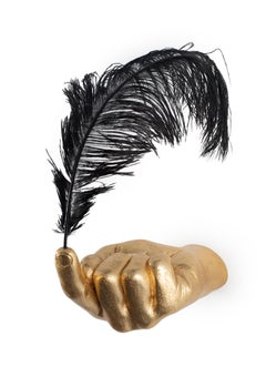 'The Weight of Man in Olympus' Conceptual Hand Wall Sculpture, Gold and Black
