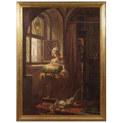 Mattia Traverso 20th Century Oil on Canvas Italian Interior Scene Painting, 1930