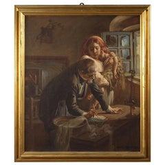 Mattia Traverso 20th Century Oil on Canvas Italian Interior Scene Painting, 1943