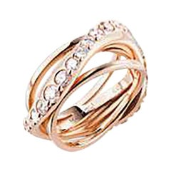 Mattioli Aspis Spinner Ring in Rose Gold and White Diamonds