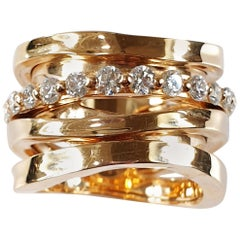 Mattioli Aspis Spinner Ring in Rose Gold w/Hammered External Bands in Rose Gold