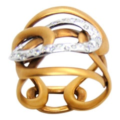 Mattioli Diamonds and White 18 Karat and Rose Gold Ring Hiroko Collection