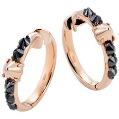 Mattioli Eve_r Earrings 18 Karat in Rose Gold and Black Diamonds