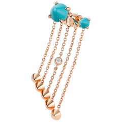 Mattioli Eve_r Mono Earring 18 Karat Gold and Turquoise, White Diamond 'left'