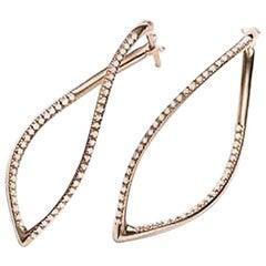 Mattioli Navettes Earrings in Rose Gold and White Diamonds