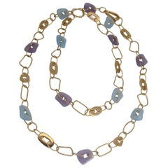 Mattioli Necklace with Blue and Lavender Jade Enhancers in 18 Karat