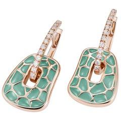 Mattioli Puzzle Collection 18 Karat Rose Gold Green Enamel White Diamonds S Size