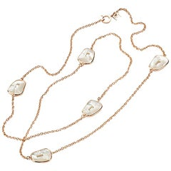 Mattioli Puzzle Collection 18 Karat Rose Gold, Mother of Pearl Chanel Necklace